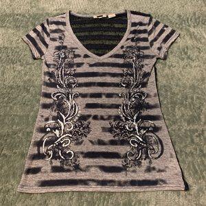 Miss Me Knit Back Rhinestone Short Sleeve Top